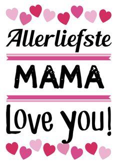Allerliefste mama met hartjes op witte achtergrond, verkrijgbaar bij #kaartje2go voor €1,89