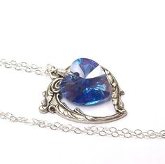 Blue Sapphire Necklace Victorian Heart by SterlingSimplicity, $22.00