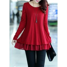 Round Neck Chiffon Panel Faux Two Piece Sweater ($25) ❤ liked on Polyvore featuring tops, sweaters, red, red chiffon top, long red sweater, long sleeve pullover, long sweaters and long sleeve tops