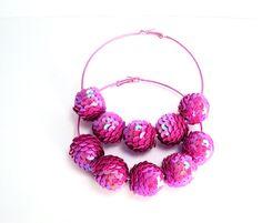 Pink Sequin Earrings Basketball Wives by trendzjewelrysupply, $28.00