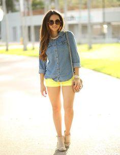 Shop this look on Kaleidoscope (shirt, shorts, necklace, bootie) http://kalei.do/WwXnhwNdgUI18ihW
