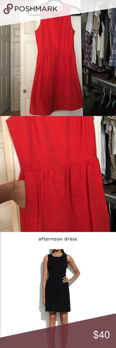 Madewell afternoon dress small Super cute & flattering red afternoon dress! Size small & has pockets! Zips up back! Madewell Dresses Mini