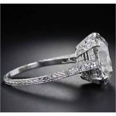The way this 6.75-carat ring looks just as pretty from the side as it does from the top. | 40 Vintage Wedding Ring Details That Are Utterly To Die For