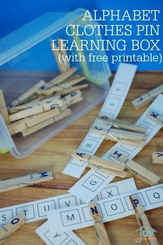 Alphabet Clothes Pin Learning Box - Hands-on learning of letter recognition. | http://www.joyinthehome.com