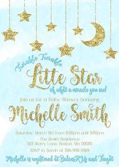 Twinkle Twinkle Little Star Baby Shower Invitation   Blue