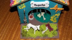 """""""Finished"""" Altered Dog House with Paper Bag Mini Album Roof, a SaCrafter..."""