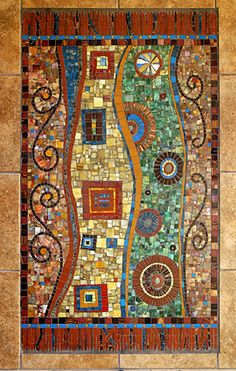 A high priestess in mosaic art - Irinia Charny.  Mosaic Kitchen Rug