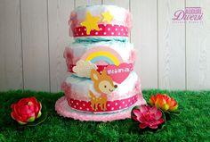 Torta di pannolini Rainbow 3 piani (70 pannolini Pampers Baby Dry tg.3) www.facebook.com/AuguriDiversi