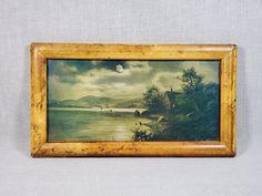 Vintage Art Prints, Antique Prints, Framed Art Prints, Small Fishing Boats, National Art, Lights Background, City Lights, Moonlight, Antiques