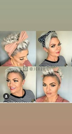 Twist Bow Wired Headbands Scarf Wrap Hair Accessory Hairband by Sea Team Packs) (Multicolored) Short Sassy Hair, Short Grey Hair, Short Hair Cuts, Short Hair Styles, Scarf Hairstyles Short, Pixie Hairstyles, Headband Hairstyles, Headbands For Short Hair, Pixie Headband