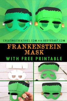 Easy Paper Plate Frankenstein Mask with Template. Free Halloween Printable and make this no Sew Frankenstein Costume for Halloween. Frankenstein Craft, Maske Halloween, Halloween Kostüm, Halloween Printable, Vintage Halloween, Halloween Makeup, Halloween Crafts For Kids, Halloween Activities, Halloween