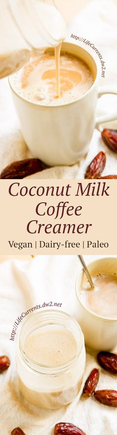 Coconut Milk Coffee Creamer is a rich creamy treat for your. Coconut Milk Coffee Creamer is a rich creamy treat for your coffee thats dairy-free vegan Paleo-friendly and super yummy! Treat yourself today! Dairy Free Recipes, Paleo Recipes, Whole Food Recipes, Cooking Recipes, Gluten Free, Yogurt Recipes, Yummy Drinks, Healthy Drinks, Yummy Food