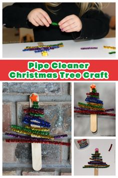 We love simple Christmas crafts for kids! These pipe cleaner Christmas trees are adorable and super easy to prep! Festive fine motor activity for toddlers and preschoolers. #christmascrafts #Christmascraft #Christmastreecraft #finemotor #Pipecleamercraft
