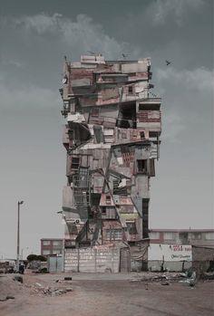 Dit niet echt een gebouw dat bestaat, dit is gefotoshopt. De manier waarop het is opgebouwd, vind ik heel interessant.