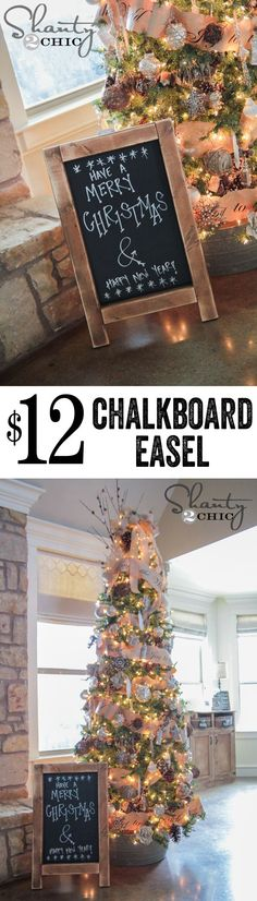 Super cute DIY Chalkboard Easel!  These would make great gifts too!! LOVE.