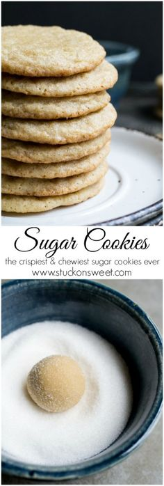 Sugar Cookies - this cookie recipe is absolutely delicious! The cookies are crunchy on the outside, crispy along the edges and chewy in the middle. | Get the recipe at www.stuckonsweet.com