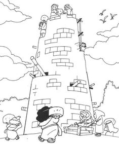Bible: Tower of Babel Coloring Page Sunday School Coloring Pages, Preschool Coloring Pages, Preschool Bible, Bible Coloring Pages, Coloring Pages For Kids, Kids Coloring, Free Coloring, Sunday School Projects, Sunday School Activities