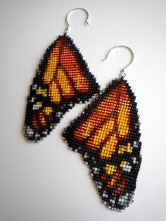 Monarch Butterfly Wing Earrings square stitch by RareSpecimens