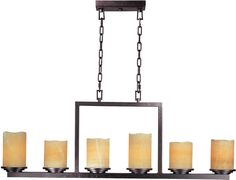 The Luminous Chandelier by Maxim is featured in a Rustic Ebony finish and a…