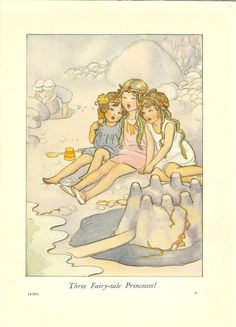 1930's Children's Print By SB Pearse Three Young Girls Sitting On Beach Seaside Sandcastle Bucket Spade Seaweed Vintage Book Illustration