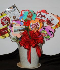 Photo only teacher gift received bouquet of gift cards gift have each student buy a gift card to a restaurant store coffee shop or where ever and then attached to a stick to place in planter instead of a bouquet negle Gallery