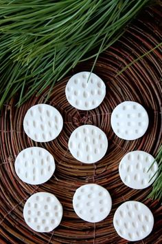 clay magnets. great little gifts. These aren't very attractive but you could sure embellish them!