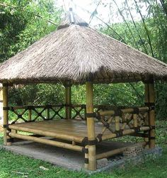 Rent Pergola For Wedding Bamboo House Design, Tropical House Design, Tropical Houses, Hut House, Tiny House Cabin, Bamboo Construction, Village House Design, Bamboo Architecture, Thatched House