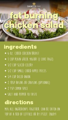 Fat Burning Chicken Salad recipe You are in the right place about Clean Eating crockpot Here we offer you the most beautiful pictures about the Clean Eating for picky eaters you are looking for. When you examine the Fat Burning Chicken Salad recipe … Clean Eating Recipes For Weight Loss, Weight Loss Meals, Healthy Eating, Eating Clean, Chicken Salad Ingredients, Chicken Salad Recipes, Low Calorie Chicken Salad, Salmon Salad Recipes, Dannette May Recipes