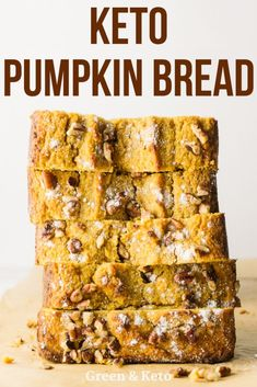 Try this keto pumpkin bread that& full of warm spices and delicious pumpkin flavor. It& sweet, spicy, and incredibly moist. Plus, it& made with almond flour and coconut flour -- so you know it& low-carb and gluten-free. Low Carb Sweets, Low Carb Desserts, Low Carb Recipes, Dessert Recipes, Bread Recipes, Coconut Flour Recipes Keto, Keto Flour, Zone Recipes, Dinner Recipes
