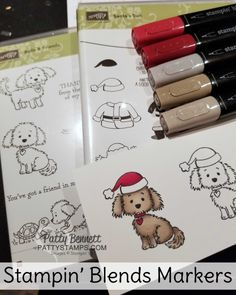How cute is this Stampin' Up! Bella & Friends doggie with the Santa Hat!? I absolutely could not wait to share this with you!     This image is stamped using two stamp sets:  Bella & Friends, and S