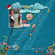 Fishing Fun by Studio Julia Makotinsky, part of The Digi Files 91 for July 2016 https://thedailydigi.com/julia-makotinsky-gone-fishing Head In The Clouds {Dressed Down} by Fiddle-Dee-Dee Designs http://the-lilypad.com/store/Head-In-The-Clouds-Dressed-Down-Digital-Scrapbook-Template.html Fonts are Always In My Heart and Stamp  Watch me scrap this layout: https://youtu.be/_ocBGarZLik