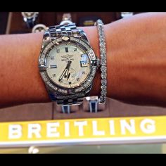 Ladies Mother of Pearl & Diaomond Galactic Breitling Watch #leoalfred