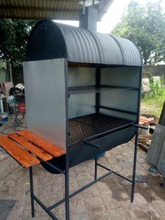 Barbecue Smoker, Bbq Grill, Modern Outdoor Fireplace, Fire Pit Essentials, Perfect Grill, Welding Art Projects, Outdoor Stove, Bbq Area, Grill Design