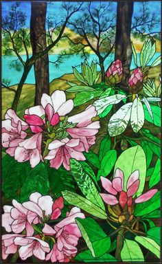 Robert Oddy Stained Glass Artist Gable Rhododendron, stained glass window private residence, 2009