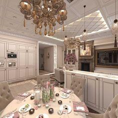 Дизайн бежевой кухни-гостиной в стиле модерн в