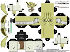 free Yoda paper craft cubee printable