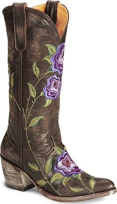 Brown distressed leather embellished with purple & green floral embroidery. Not for the playground! Oh boy - $479. Another dream boot. Old Gringo Marsha
