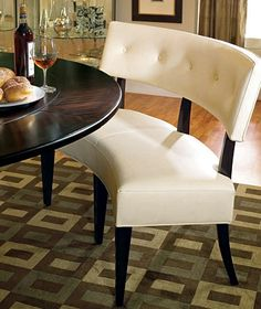 benches for kitchen table german knives love the mixed with chairs fun idea a round banquette bernhardt dining admired its ability to foster intimate conversation has finally met match this curved