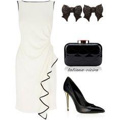 Koktejlové šaty - biela + čierna