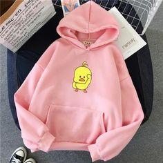 Kawaii Hoodie Anime Hirajuku Hoody Tumblr Casual Tops Hoodie Gift Winter Warm Oversized Sweatshirt Women Cartoon Chick Hoodie - pink / M