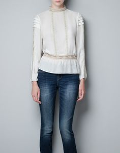 BLOUSE WITH LACE AND THREADED RIBBON - Shirts - Woman - ZARA