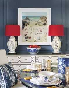 Eclectic Blue Dining Room Console