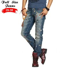 (77.99$)  Buy here - http://ai2bk.worlditems.win/all/product.php?id=32792423018 - Spring Europe Style Young Men Plus Size Painting Print Jeans Fashion Trend Slipper Slim Straight Trousers