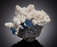 Minerals:Cabinet Specimens, BENSTONITE on CALCITE with FLUORITE. Bethel Level, Minerva No. 1Mine, Cave-in-Rock Dist., Hardin Co., Illinois, USA. ...