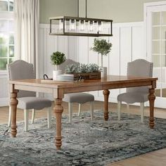 Birch Lane: Farmhouse & Traditional Furniture - Made to Last Extendable Dining Table, Dining Table In Kitchen, Traditional Dining, Solid Wood Dining Table, Upholstered Side Chair, Dining Table Chairs, Farmhouse Dining Table, Wood Dining Table, Dining