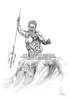 Poseidon Pencil drawing Digital print by NikkeyStudio on Etsy