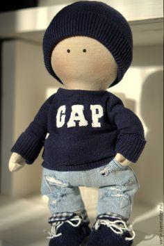 Коллекционные куклы ручной работы. Ярмарка Мастеров - ручная работа. Купить Интерьерная кукла. Handmade. Темно-синий, бежевый, мягкий