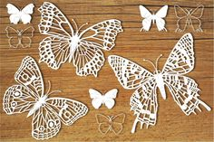 Butterflies (set SVG files for Silhouette Cameo and Cricut. Butterfly Cutout, Butterfly Clip Art, Butterfly Template, Butterfly Stencil, Paper Lace, Paper Flowers, Cut Out Art, Spring Crafts, Silhouette Cameo