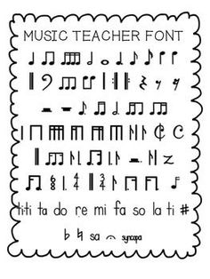 FREE- Music Teacher Font with standard and kodaly notation (personal use only)