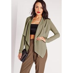Missguided Waterfall Blazer (£22) ❤ liked on Polyvore featuring outerwear, jackets, blazers, khaki, thin leather jacket, waterfall leather jacket, leather jacket, khaki jacket and khaki leather jacket